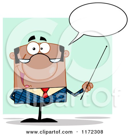 Cartoon of a Talking Black Indian or Hispanic Businessman or Professor Holding a Pointer Stick - Royalty Free Vector Clipart by Hit Toon