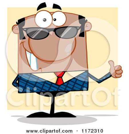 Cartoon of a Happy Black Hispanic or Indian Businessman Wearing Sunglasses and Holding a Thumb Up, over Yellow - Royalty Free Vector Clipart by Hit Toon