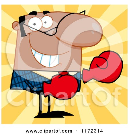 Cartoon of a Grinning African Hispanic or Indian Businessman Wearing Boxing Gloves, over Yellow Rays - Royalty Free Vector Clipart by Hit Toon