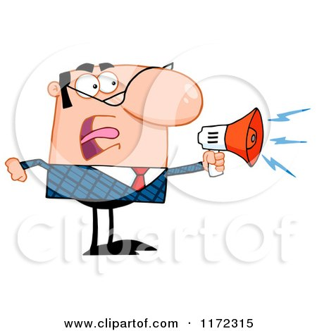 Cartoon of an Angry Caucasian Businessman Shouting Through a Megaphone - Royalty Free Vector Clipart by Hit Toon