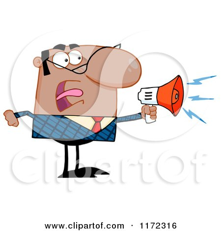 Cartoon of an Angry Black Indian or Hispanic Businessman Shouting Through a Megaphone - Royalty Free Vector Clipart by Hit Toon