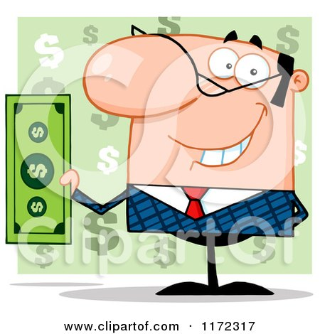 Cartoon of a Smiling White Businessman Holding Cash and One Hand Behind His Back, over Green Question Marks - Royalty Free Vector Clipart by Hit Toon