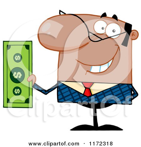 Cartoon of a Smiling Black Indian or Hispanic Businessman Holding Cash and One Hand Behind His Back - Royalty Free Vector Clipart by Hit Toon