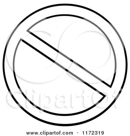 Cartoon of a Black and White Restricted or Prohibited Symbol - Royalty Free Vector Clipart by Hit Toon