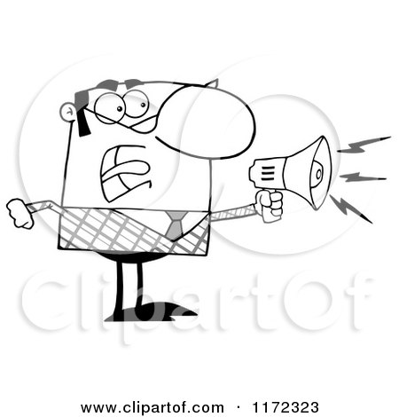 Cartoon of an Angry Grayscale Businessman Shouting Through a Megaphone - Royalty Free Vector Clipart by Hit Toon