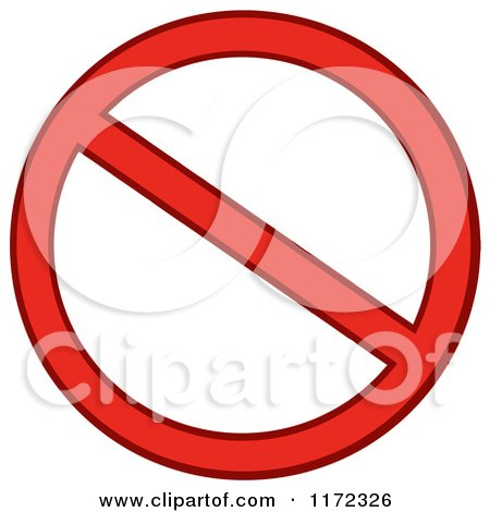 Cartoon of a Red Restricted or Prohibited Symbol - Royalty Free Vector Clipart by Hit Toon