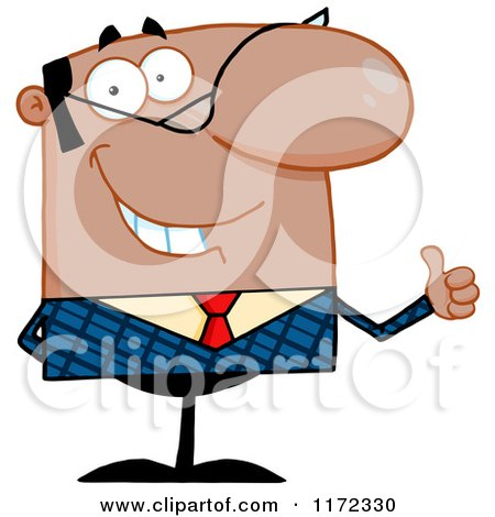 Cartoon of a Pleased Black or Hispanic Businessman Holding a Thumb up and Smiling - Royalty Free Vector Clipart by Hit Toon
