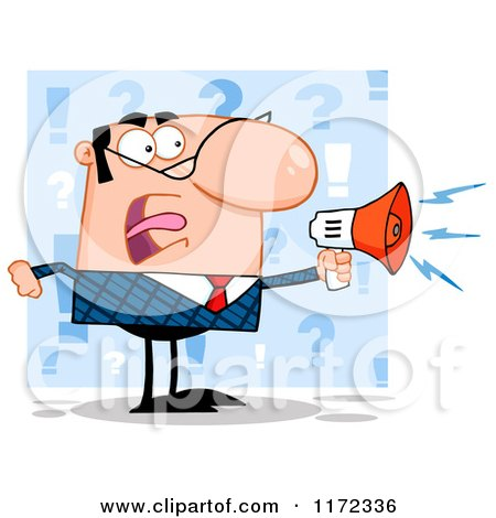 Cartoon of an Angry White Businessman Shouting Through a Megaphone, over Blue Question Marks - Royalty Free Vector Clipart by Hit Toon