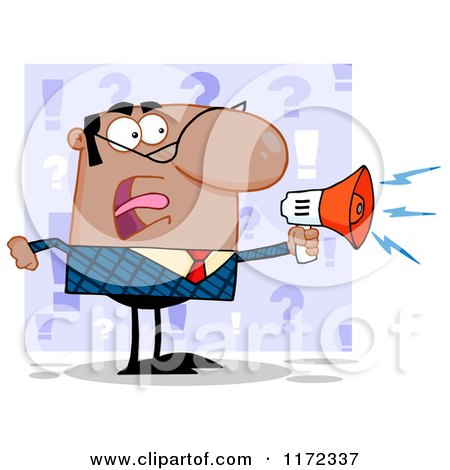 Cartoon of an Angry Black Indian or Hispanic Businessman Shouting Through a Megaphone, over Purple Question Marks - Royalty Free Vector Clipart by Hit Toon