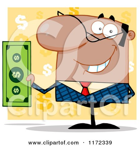 Cartoon of a Smiling Black Indian or Hispanic Businessman Holding Cash and One Hand Behind His Back, over Yellow Question Marks - Royalty Free Vector Clipart by Hit Toon