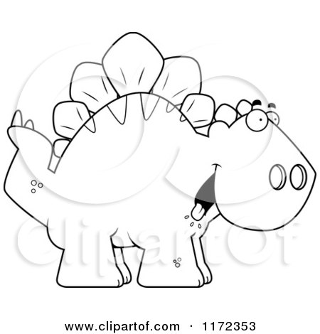 Cartoon Clipart Of A Happy Stegosaurus Dinosaur