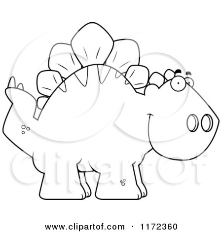 Cartoon Clipart Of A Happy Stegosaurus