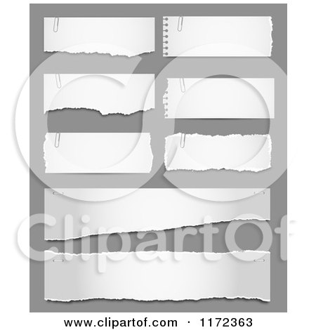 Clipart of Torn Pieces of Paper on Gray - Royalty Free Vector Illustration by vectorace