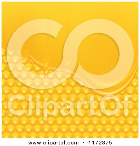 Clipart of a Background of Golden Honeycombs and Honey - Royalty Free Vector Illustration by vectorace