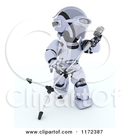 Clipart of a 3d Robot Singing and Tilting a Microphone Stand - Royalty Free CGI Illustration by KJ Pargeter