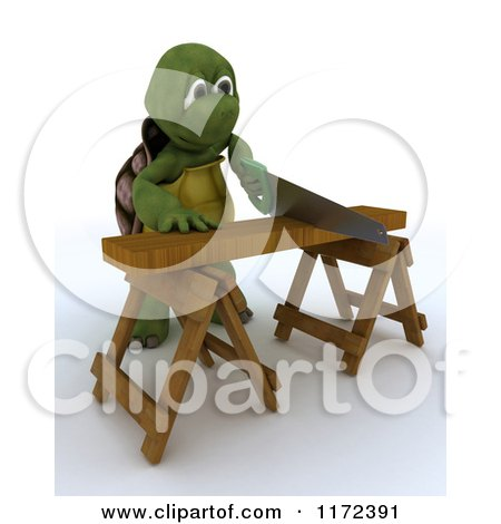 Clipart of a 3d Carpenter Tortoise Worker Cutting Wood with a Saw 2 - Royalty Free CGI Illustration by KJ Pargeter
