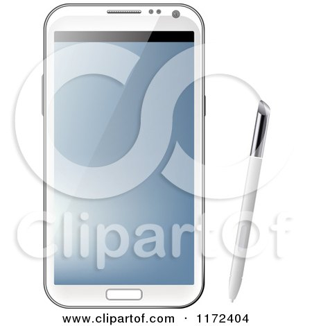 Clipart of a White Samsung Galaxy Note with Stylus Pen - Royalty Free Vector Illustration by vectorace