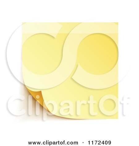 Clipart of a Curling Yellow Sticky Note with Shadows on White - Royalty Free Vector Illustration by vectorace