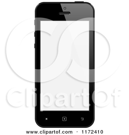 Clipart of a Black Touch Screen Smart Cell Phone with a Blank Display - Royalty Free Vector Illustration by vectorace