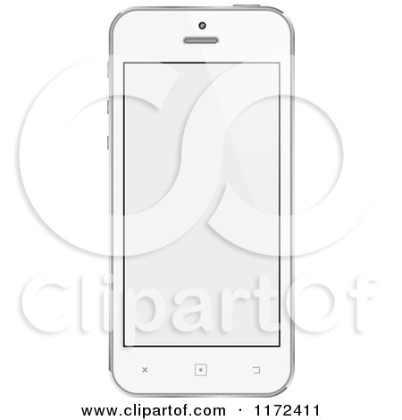 Clipart of a White Touch Screen Smart Cell Phone with a Blank Display - Royalty Free Vector Illustration by vectorace