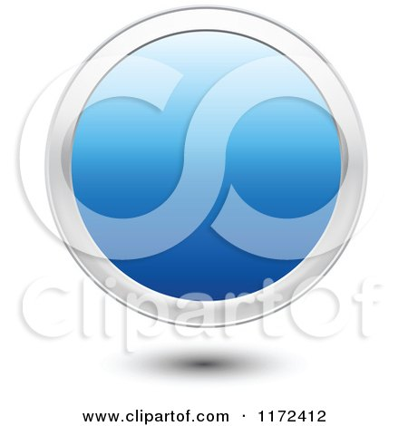 Clipart of a 3d Floating Round Blue Icon Button with a Silver Ring - Royalty Free Vector Illustration by vectorace