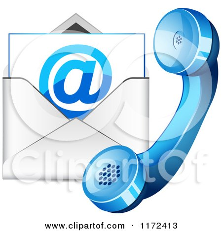 Clipart of a Blue Contact Telphone and Email Icon - Royalty Free Vector Illustration by vectorace