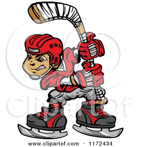 Cartoon of a Hockey Player Holding up a Stick - Royalty Free Vector Clipart by Chromaco