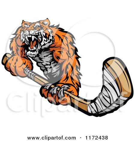 Clipart of a Roaring Tiger Holding a Hockey Stick - Royalty Free Vector Illustration by Chromaco