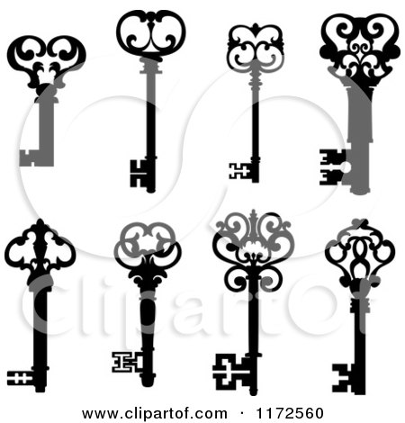 Clipart of Black and White Antique Skeleton Keys 2 - Royalty Free Vector Illustration by Vector Tradition SM