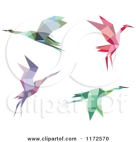 Royalty Free Rf Origami Crane Clipart Illustrations Vector