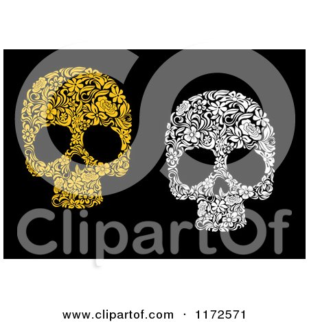 Clipart of Yellow and White Floral Skulls on Black - Royalty Free Vector Illustration by Vector Tradition SM