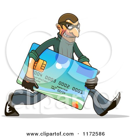 Clipart of a Hacker Identity Thief Carrying a Credit Card - Royalty Free Vector Illustration by Vector Tradition SM