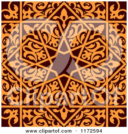 Clipart of a Seamless Brown and Orange Arabic or Islamic Design - Royalty Free Vector Illustration by Vector Tradition SM