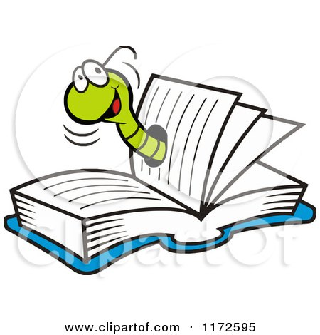 Cartoon of a Happy Green Wom in a Book - Royalty Free Vector Clipart by Johnny Sajem
