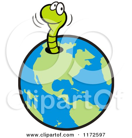 Cartoon of a Happy Green Worm Emerging from a Hole in Earth - Royalty Free Vector Clipart by Johnny Sajem