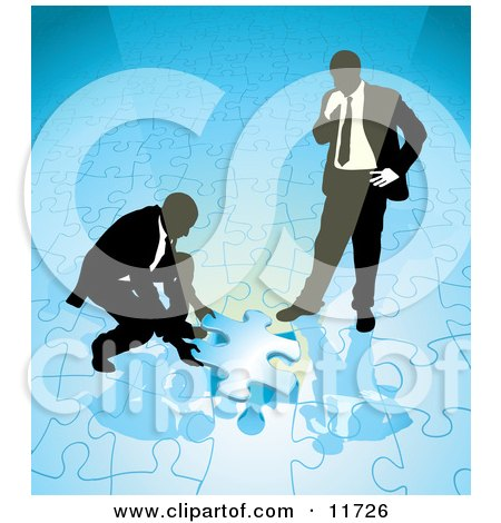 Two Businessmen Completing a Blue Jigsaw Puzzle Together Posters, Art Prints