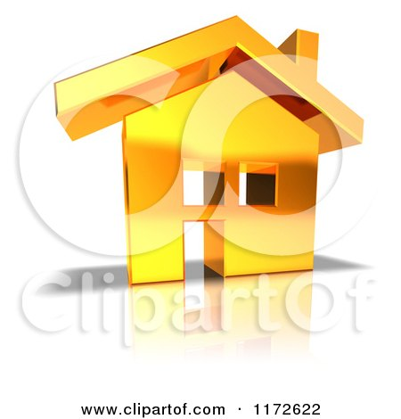 Clipart of a 3d Gold House - Royalty Free CGI Illustration by Julos