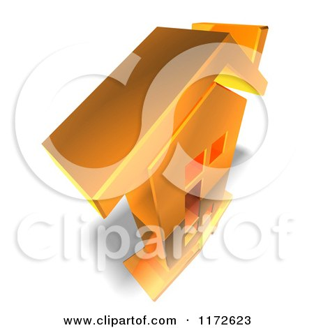 Clipart of a 3d Gold House from Above - Royalty Free CGI Illustration by Julos