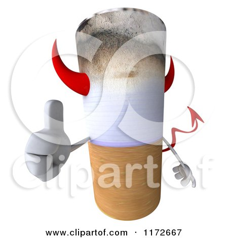 Clipart of a 3d Devil Tobacco Cigarette Character Holding a Thumb up - Royalty Free CGI Illustration by Julos