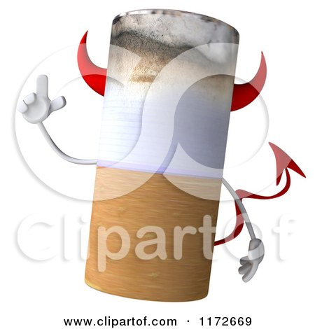 Clipart of a 3d Devil Tobacco Cigarette Character with an Idea - Royalty Free CGI Illustration by Julos