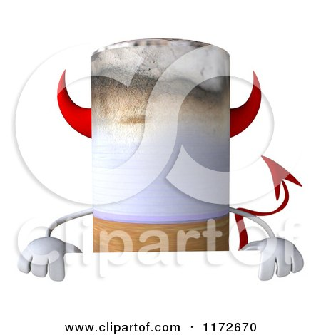 Clipart of a 3d Devil Tobacco Cigarette Character over a Sign - Royalty Free CGI Illustration by Julos