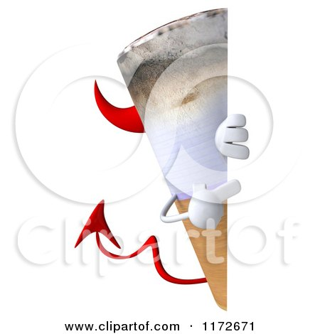 Clipart of a 3d Devil Tobacco Cigarette Character Pointing to and Peeking Around a Sign - Royalty Free CGI Illustration by Julos