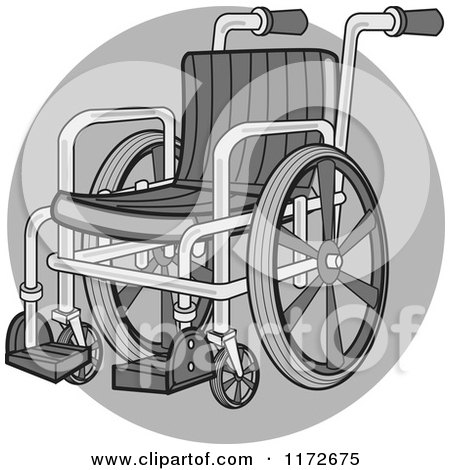 Clipart of a Medical Wheelchair over a Gray Circle - Royalty Free Vector Illustration by Andy Nortnik