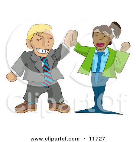 Excited Businessman Giving a Businesswoman a High Five Clipart Illustration by AtStockIllustration