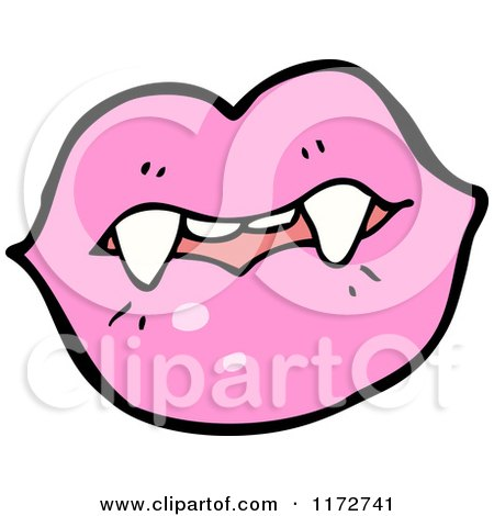 Cartoon of a Pink Lips and Vampire Teeth - Royalty Free Vector Clipart by lineartestpilot