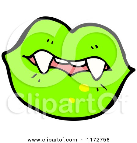 Cartoon of Green Lips and a Vampire Teeth - Royalty Free Vector Clipart by lineartestpilot