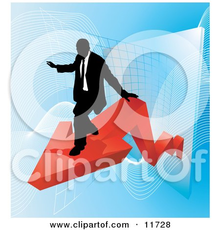 Successful Businessman Riding on a Red Arrow as Revenue Increases Clipart Illustration by AtStockIllustration