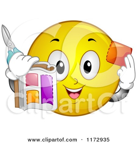 Cartoon of a Happy Emoticon Smiley Cutting out Coupons - Royalty Free Vector Clipart by BNP Design Studio