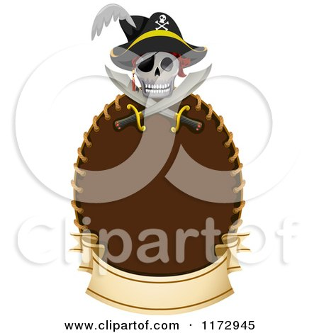 Cartoon of a Pirate Skull and Crossed Swords over a Frame with a Banner - Royalty Free Vector Clipart by BNP Design Studio