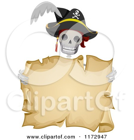 Cartoon of a Skeleton Pirate Holding an Aged Parchment Scroll - Royalty Free Vector Clipart by BNP Design Studio